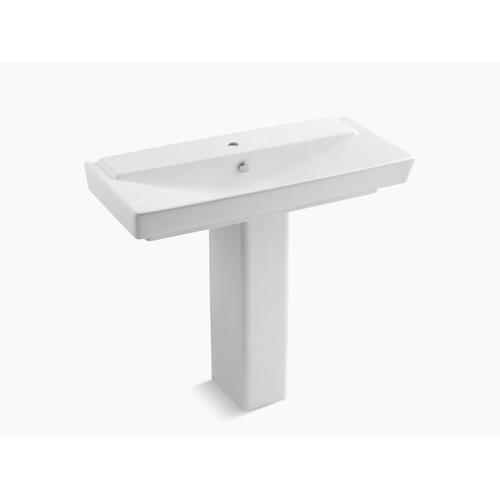 "White 39"" Pedestal Bathroom Sink With Single Faucet Hole"