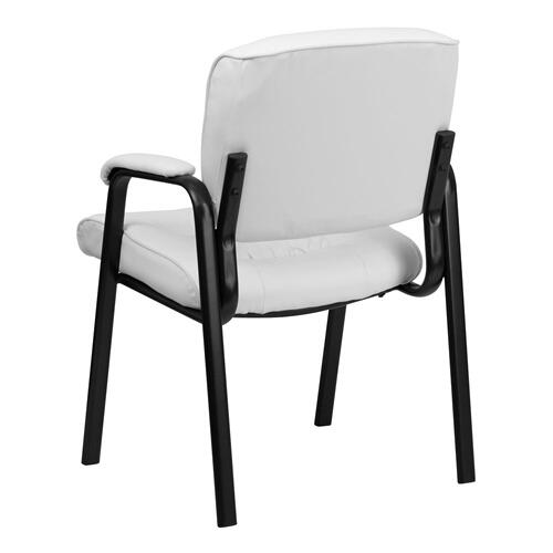 White Leather Executive Side Reception Chair with Black Metal Frame