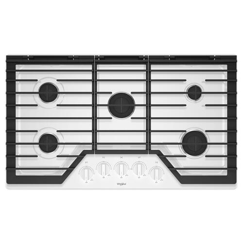 Whirlpool - 36-inch Gas Cooktop with EZ-2-Lift™ Hinged Cast-Iron Grates White