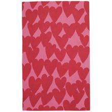 Hearts Dark Red Loop Hooked Rugs