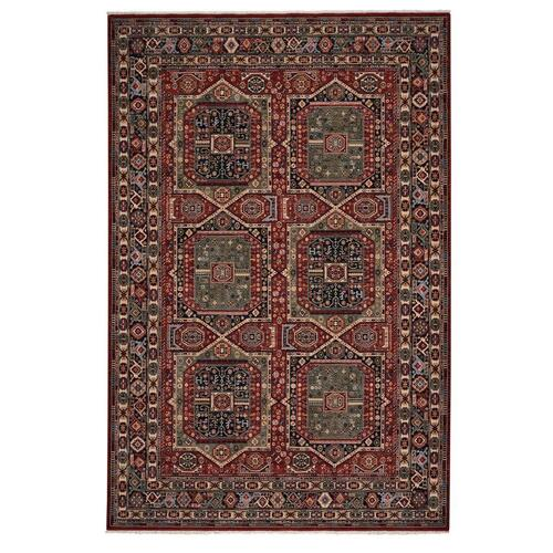 "Lineage-Qashqai Red Navy - Rectangle - 3'11"" x 4'11"""