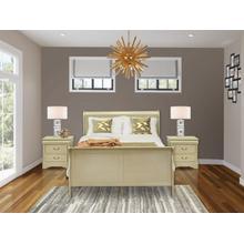 West Furniture Louis Philippe 3 Piece Queen Size Bedroom Set in Metallic Gold Finish with Queen Bed,2 Nightstands