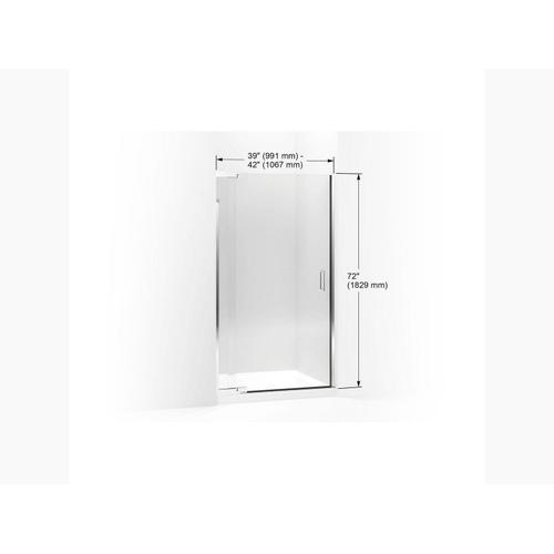 """Crystal Clear Glass With Bright Silver Frame Pivot Shower Door, 72"""" H X 39 - 42"""" W, With 1/4"""" Thick Crystal Clear Glass"""