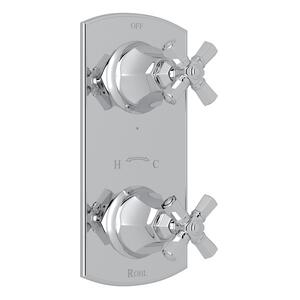 "Polished Chrome Palladian 1/2"" Thermostatic/Diverter Control Trim with Cross Handle Product Image"