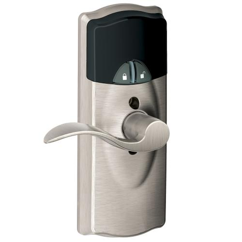 Schlage - Connected Keypad Lever with Camelot trim and Accent Lever - Satin Nickel