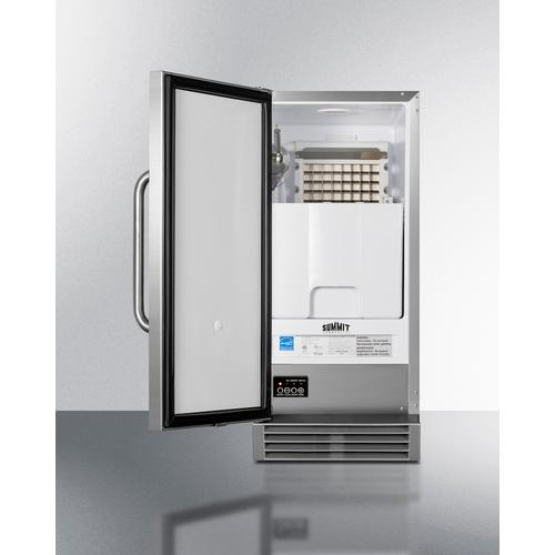 """Summit - 15"""" Wide 50 Lb. ADA Compliant Commercially Listed Clear Icemaker With Automatic Defrost, Internal Pump, and Complete Stainless Steel Exterior"""