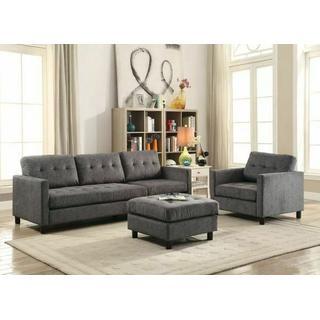 ACME Ceasar Sectional Sofa (Rev. Ottoman) - 53315 - Gray Fabric