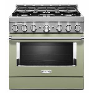 KitchenAid® 36'' Smart Commercial-Style Gas Range with 6 Burners - Avocado Cream Product Image