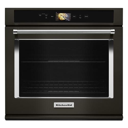 """KitchenAid - Smart Oven+ 30"""" Single Oven with Powered Attachments and PrintShield™ Finish Black Stainless Steel with PrintShield™ Finish"""