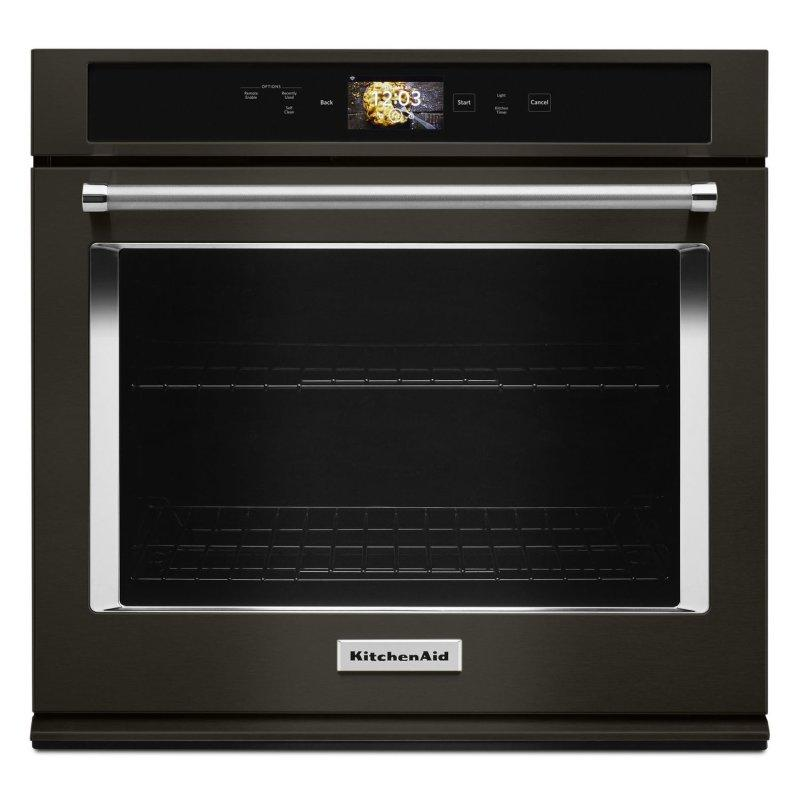 """Smart Oven+ 30"""" Single Oven with Powered Attachments and PrintShield™ Finish Black Stainless Steel with PrintShield™ Finish"""