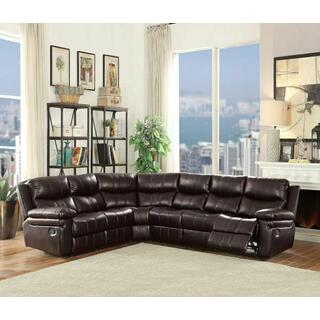 ACME Lavinia Sectional Sofa (Motion) - 53955 - Espresso Leather-Aire