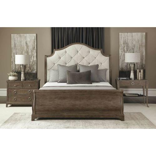 California King Rustic Patina Upholstered Sleigh Bed in Peppercorn (387)