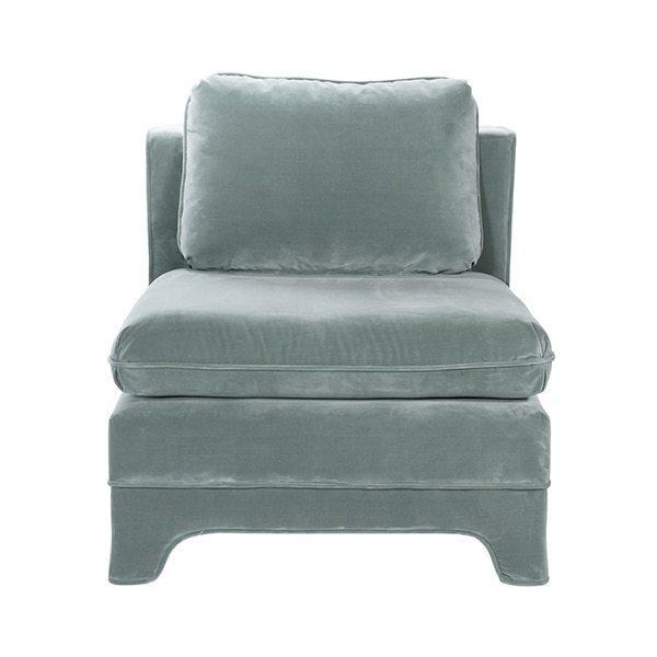 Designed Originally In Victorian Times for Ladies To Easily Put On Their Shoes, the Slipper Chair Is A Classic Addition To Any Room. Our Lovely Ansonia Slipper Chair Is Upholstered In Seafoam Velvet With A Coordinating Welt That Gracefully Follows Every Curve of This Tailored Accent Chair.