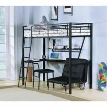 ACME Senon Loft Bed w/Desk - 37275 - Silver & Black