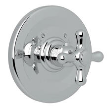Verona Thermostatic Trim Plate without Volume Control - Polished Chrome with Cross Handle