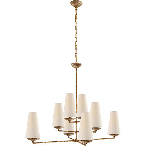 AERIN Fontaine 8 Light 39 inch Gilded Plaster Offset Chandelier Ceiling Light, Large
