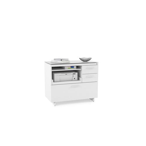 BDI Furniture - Centro 6417 Multifunction Cabinet in Satin White Painted Oak Grey Glass