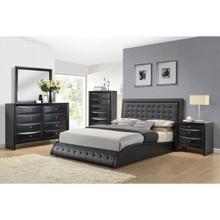 TIRREL BLACK PU QUEEN BED