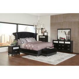 Barzini Black Upholstered Queen Four-piece Bedroom Set