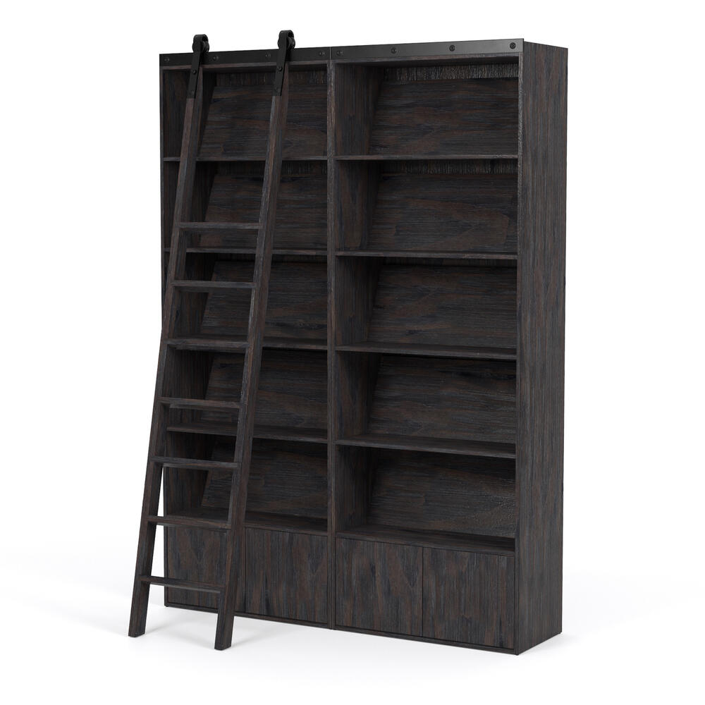 Double Bookshelf W/ Ladder Configuration Dark Charcoal Finish Bane Bookshelf