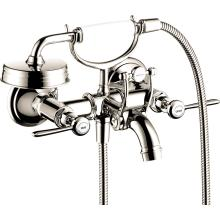 Polished Nickel 2-Handle Wall-Mounted Tub Filler with Lever Handles and 1.8 GPM Handshower