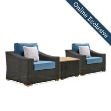 New Boston 3pc Wicker Patio Conversation Set w/ Blue Cushion