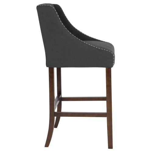 """Alamont Furniture - 30"""" High Transitional Tufted Walnut Barstool with Accent Nail Trim in Black Fabric"""