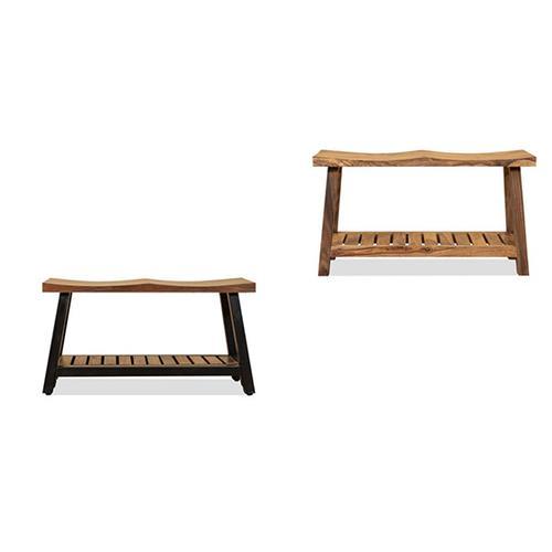 Progressive Furniture - Bench w/ Wood Base - Natural/Black Metal Finish