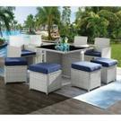 ACME Paitalyi 9Pc Patio Set - 45075 - Blue Fabric & Wicker Product Image