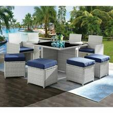 ACME Paitalyi 9Pc Patio Set - 45075 - Blue Fabric & Wicker