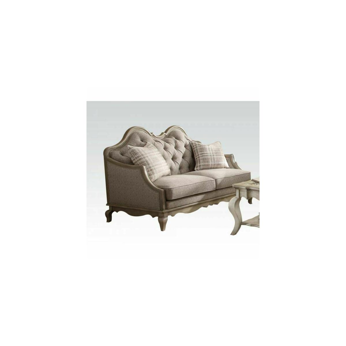 ACME Chelmsford Loveseat w/2 Pillows - 56051 - Beige Fabric & Antique Taupe