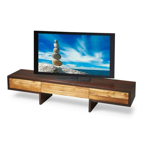 This sleek, modern entertainment center features a low profile design for your wide screen television and three touch-opening doors for components storage. It is beautifully crafted from solid sheesham wood and recycled teak with a two-tone natural/espresso finish.