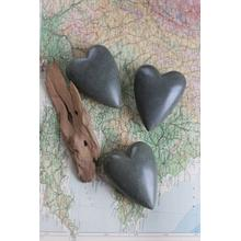 See Details - set of 6 hand carved stone hearts \ dark grey