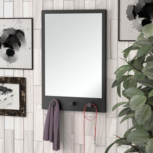 Gatco - Glamorous Mirror with Hooks in Matte Black