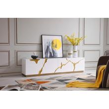Modrest Aspen Modern White & Gold TV Stand
