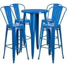 24'' Round Blue Metal Indoor-Outdoor Bar Table Set with 4 Cafe Stools