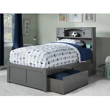 Newport Twin XL Flat Panel Foot Board with 2 Urban Bed Drawers Atlantic Grey