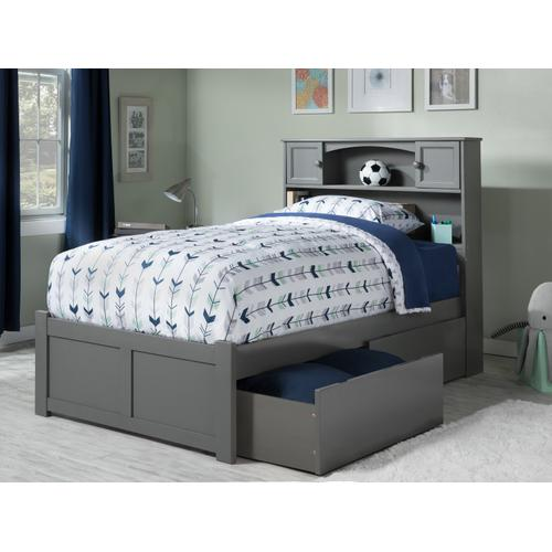 Newport Twin XL Flat Panel Foot Board with 2 Urban Bed Drawers Atlantic Grey