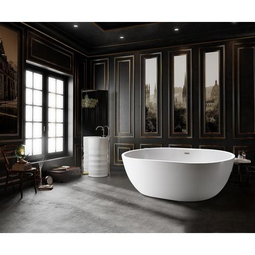 "Piper 71"" Extra Wide Acrylic Tub with Integral Drain - Tap Deck - 7"" Rim Holes / Matte Black Drain and Overflow"