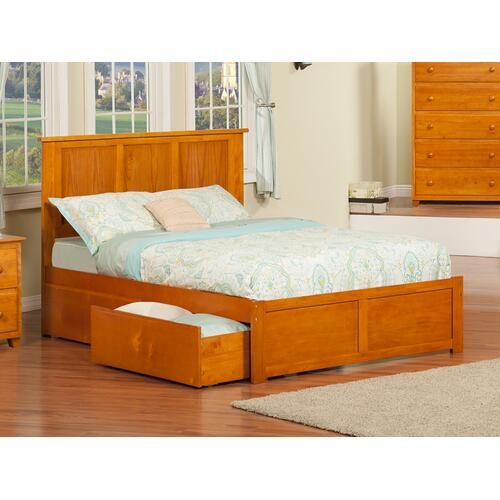 Madison Full Flat Panel Foot Board with 2 Urban Bed Drawers Caramel Latte