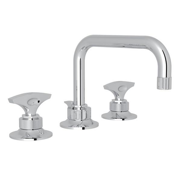 Polished Chrome Graceline U-Spout Widespread Lavatory Faucet with Metal Dial Handle Graceline Series Only