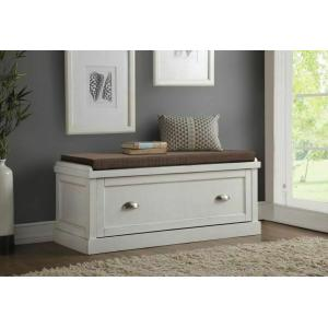 ACME Aislins Bench w/Storage, Fabric & White Washed - 96618