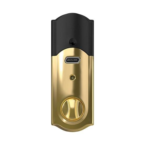Schlage Connect Smart Deadbolt with Camelot Trim, Z-Wave Plus enabled - Bright Brass