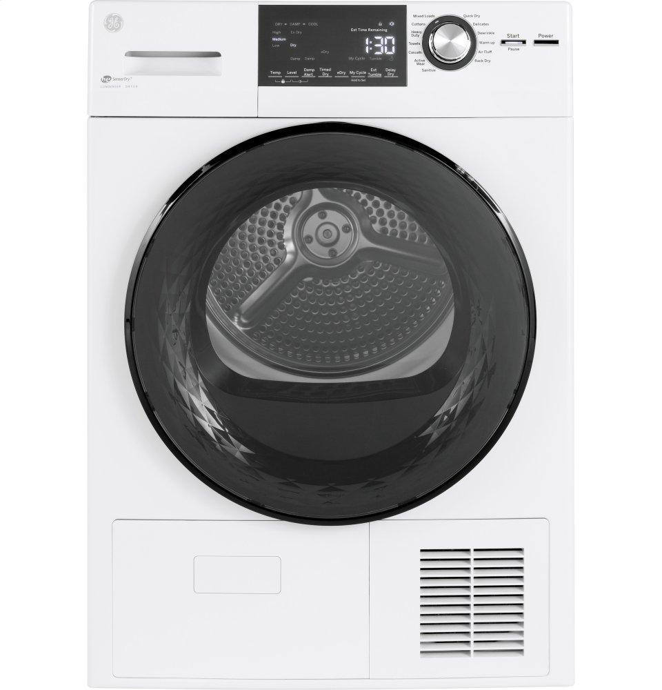 """GE24"""" 4.1 Cu.Ft. Front Load Ventless Condenser Electric Dryer With Stainless Steel Basket"""