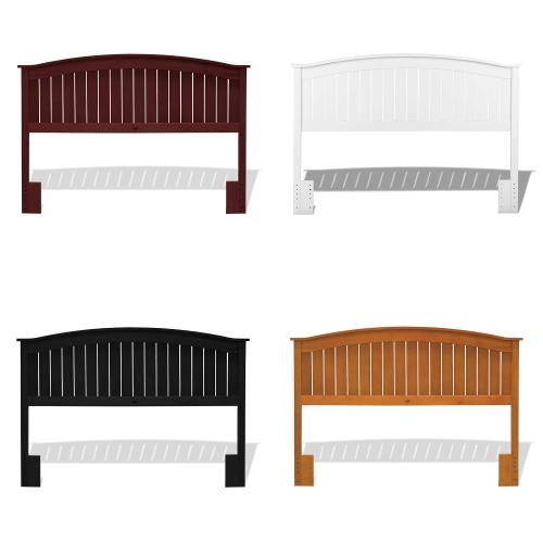 Gallery - Finley Wood Headboard Panel with Curved Top Rail and Slatted Grill Design, White Finish, Full / Queen