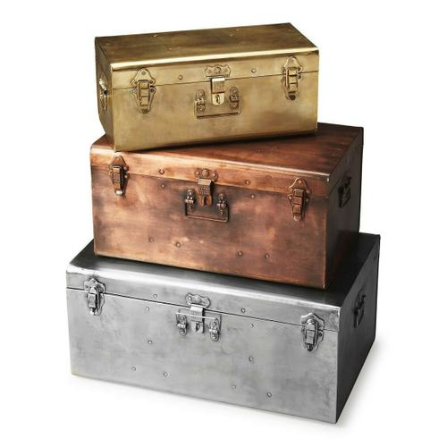 Butler Specialty Company - These metal trunks in silver-toned, bronze-toned, and gold-toned finishes with matching clasps and hands are as functional as they are fashionable.