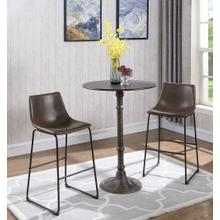 See Details - Industrial Brown Faux Leather Bar Stool