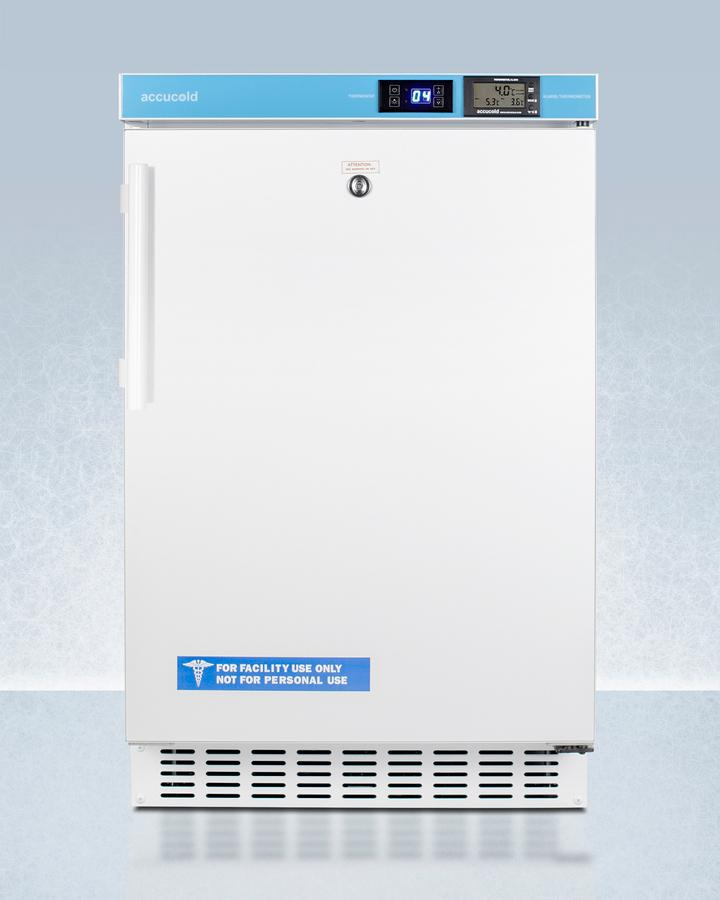 """SummitPharmacy Series Ada Compliant 20"""" Wide Built-In Undercounter All-Refrigerator For Vaccine Storage, Frost-Free With An Internal Fan, External Digital Controls And Thermometer, And Lock"""