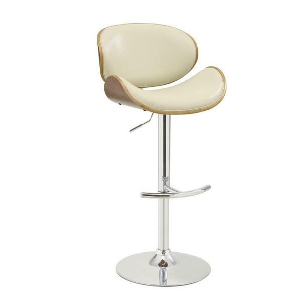 See Details - Contemporary Cream Adjustable Height Bar Stool
