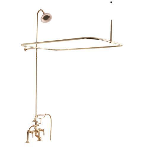 Tub/Shower Converto Unit - Elephant Spout, Shower Ring, Riser, Showerhead - Lever / Polished Brass